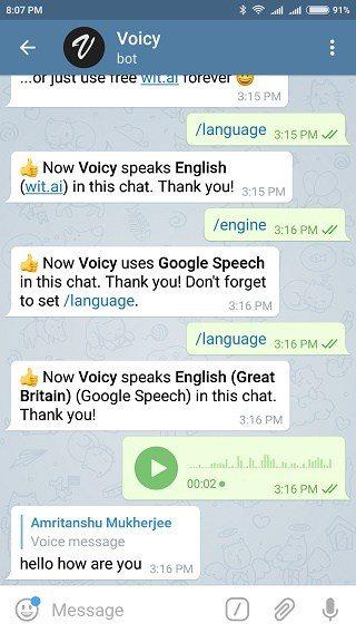 بهترین ربات های تلگرام : voicybot