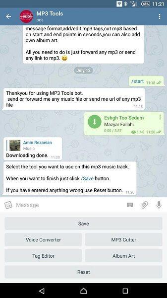 بهترین ربات تلگرام : ربات Mp3Toolsbot