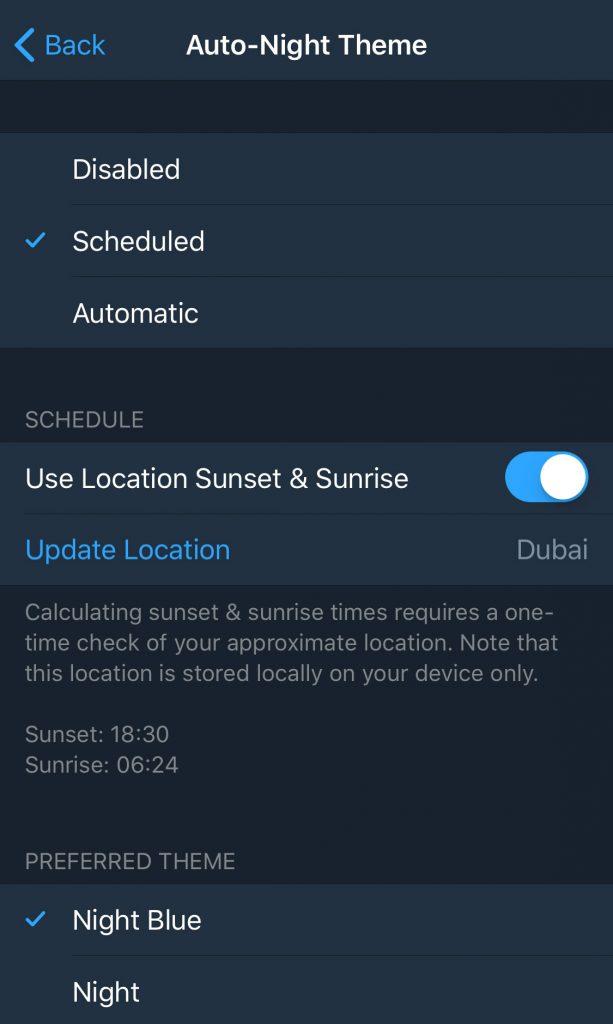 اضافه شدن حالت شب برای آیفون بعد از آپدیت تلگرام 4.8.5