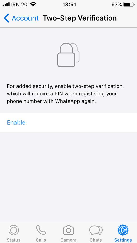 هک واتساپ | فعالسازی تایید دو مرحله ای واتساپ