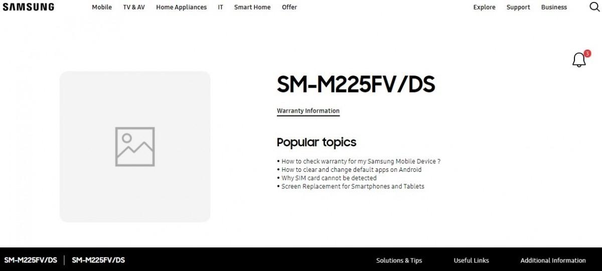 با راه اندازی مستقیم صفحات پشتیبانی در وب سایت های سنگاپوری و مالزی ، گلکسی M22 به زودی راه اندازی می شود